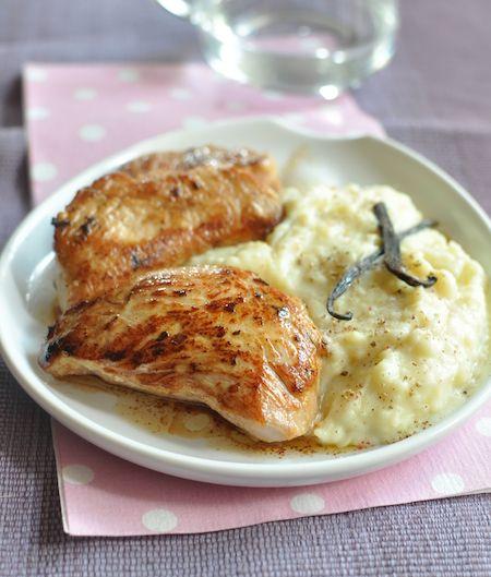 Recette Mignon de veau à la vanille, purée à l'ancienne - Envie de bien manger. Plus de recettes à base de pommes de terre sur www.enviedebienmanger.fr/recettes/pomme%2520de%2520terre