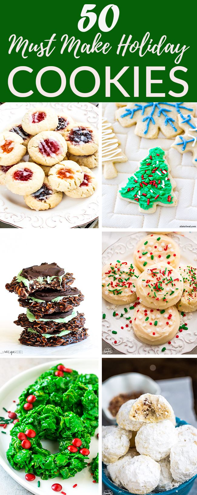 These are 50 of the most requested holiday cookies for any Christmas or holiday cookie platter. Make these cookies and wow your family and friends with sweetness overload. Or grab some platters and hand out to loved ones and neighbors as a happy holidays gift. Includes shortbread, sugar, wreath, gingerbread, snowball, candy cane, snowflake, thumbprints and more! #cookies #holidaycookies #christmas #baking
