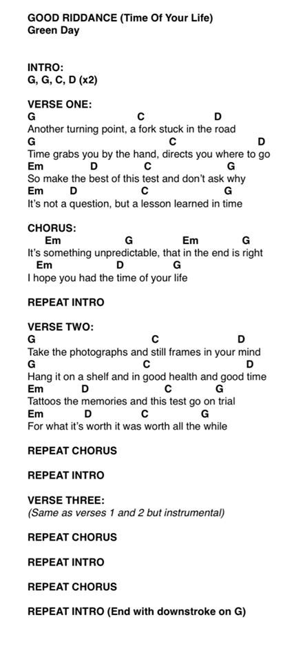 GREEN DAY chords | E-Chords.com