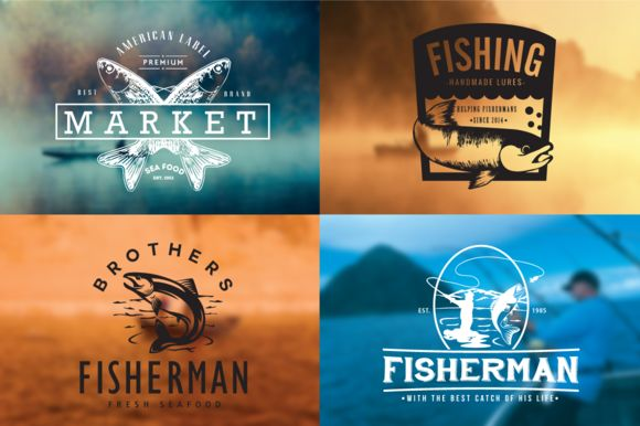 Fishing Vintage Badges Logos by lovepower on @creativemarket