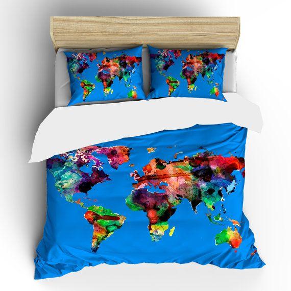 Custom Bedding Watercolors on Mediterranean Blue by redbeauty