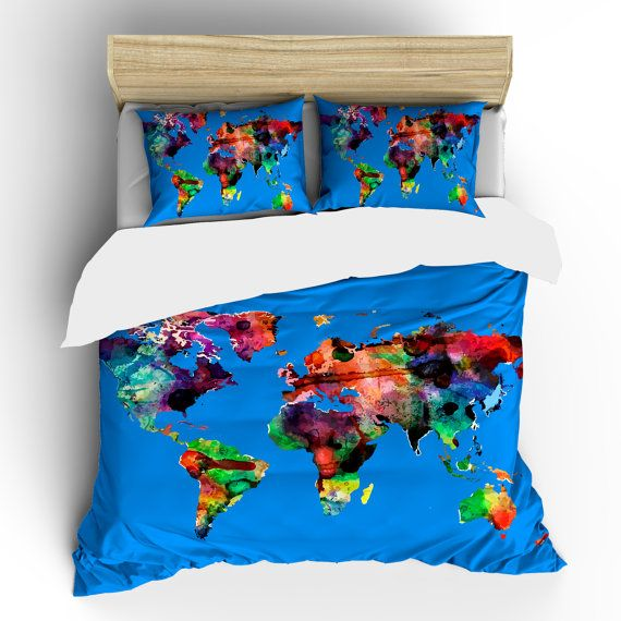 watercolor comforter | Custom Bedding Watercolors on Mediterranean Blue World Map Theme ...