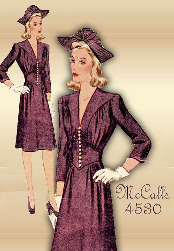Sewing Pattern 1940s Dress Vintage McCall 4530 WWII Swing Era Career Dress Gathered Bodice Size 16 Bust 34