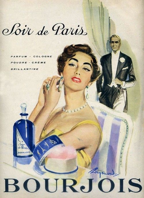 Bourjois Soir de Paris, 1955 perfume advertisement.