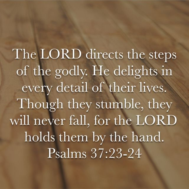Psalm 37:23-24 What a profound verse! Isn't it great to know that He will never let us go? Our assurance is absolute as long as we trust in Him.