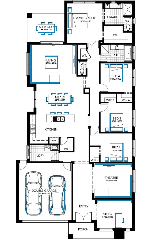 29 Provincial | my edit - take out study, Move theatre down, place toilet and (larger walk-in) Linen closet next to bathroom