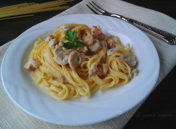 Bavette+con+funghi+zafferano+e+pancetta