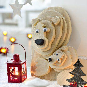 Tête d'ours en tranches de bois superposées DIY