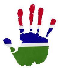 Handprints with Gambia flag illustration