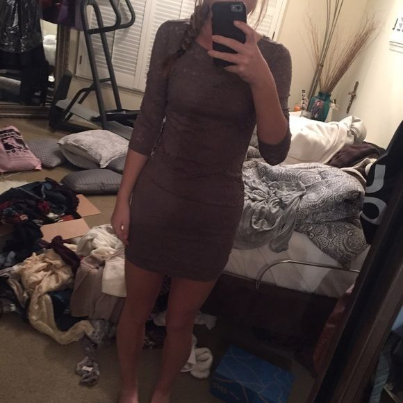 tight brown lace dress never worn no flaws. not brandy Brandy Melville Dresses Mini