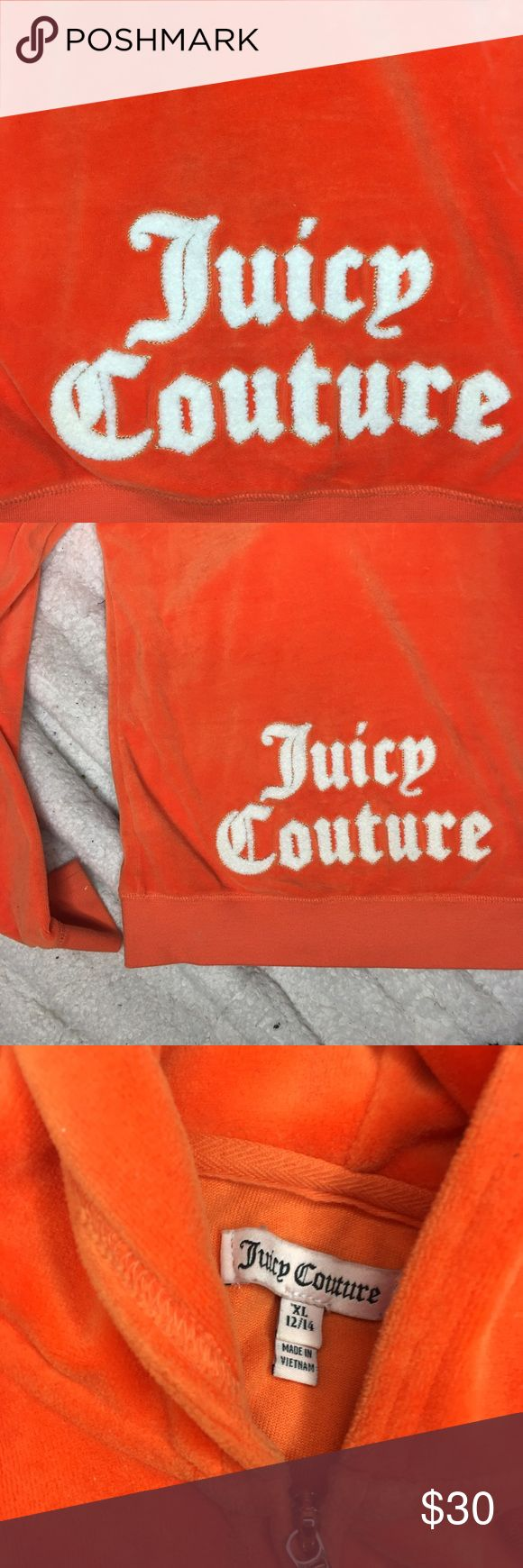 Juicy couture orange sweater Worn 3 times great condition. XL in kids wears like a woman's extra-small zip up Juicy Couture Sweaters
