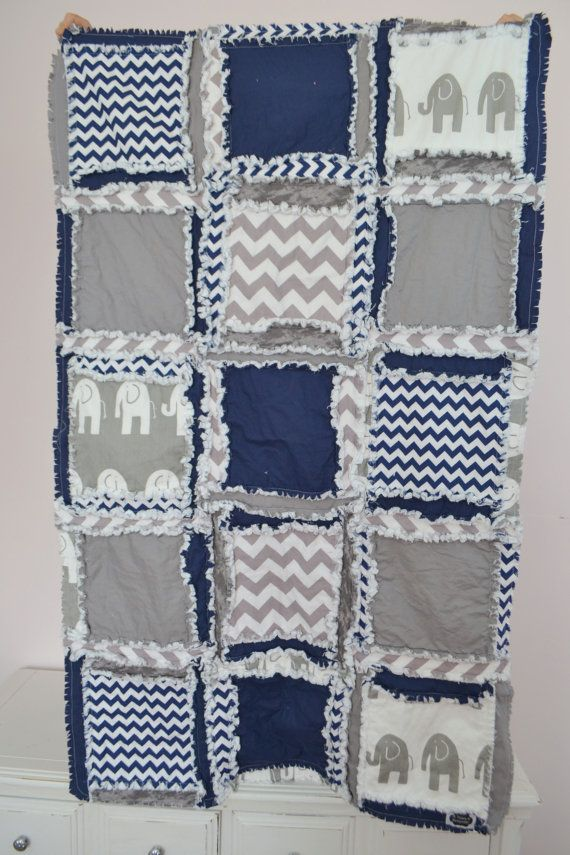 Custom Elephant Rag Quilt in Gray and Navy Blue, Crib Quilt Size, Made to Order #ragquilt #babyblanket #forsale