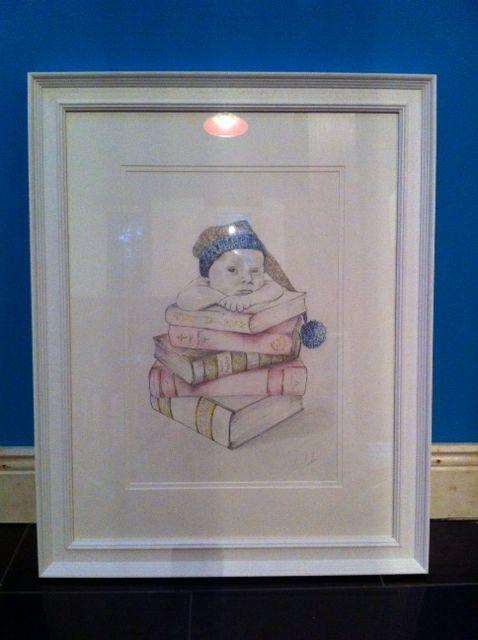 Pastels, pencil, art, white frame, drawing