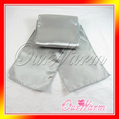 wholesale 50 dark silver grey gray satin chair sashes banquet sash