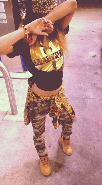 shoes timberlands urban boots jacket t-shirt pants bag jeans shirt camo swag sweater camouflage thug retro hippie cheetah print wutang gold ...