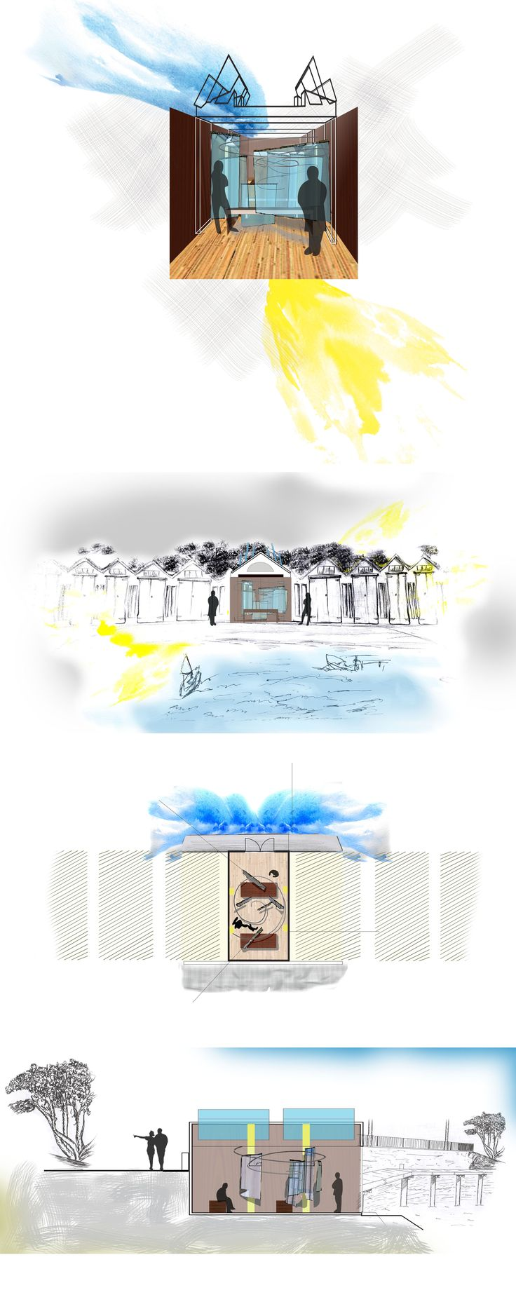 Boat shed design for my uni project elevation, section, plan and perspective
