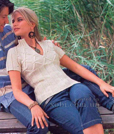 женский пуловер с короткими рукавами
