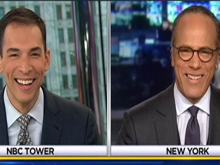 """Video on Today: There was a fun father-son moment Monday on NBC's Chicago affiliate Monday afternoon when WMAQ news anchor Stefan Holt introduced a live preview of """"NBC Nightly News,"""" anchored by his dad, Lester Holt, and father and son greeted each other over the airwaves."""