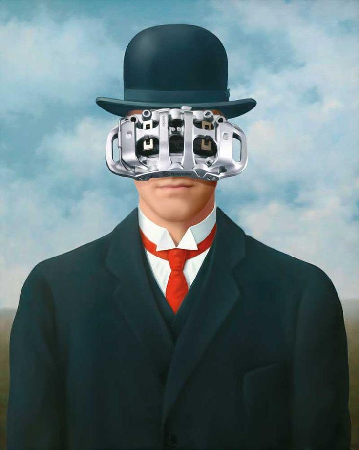 """#TheArtOfBraking, #illustration inspired by #ReneMagritte #Surrealism #AnnualReport Una delle illustrazioni realizzate per il bilancio #Brembo """"Designing the Future"""" ispirate all'arte del Novecento."""