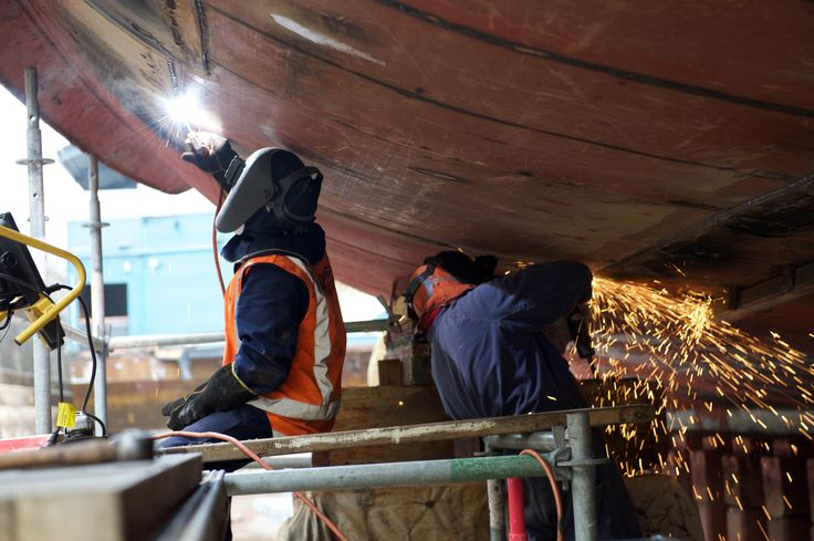 Engineers completing the replacement of a small section of the hull plating of the historic steam tug William C. Daldy in 2015