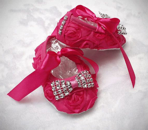 coming home outfit bling baby shoes baby couture hot pink baby shoes crib shoes newborn photo prop baby diva rosette baby shoes sparkle by ChesapeakeBayby on Etsy