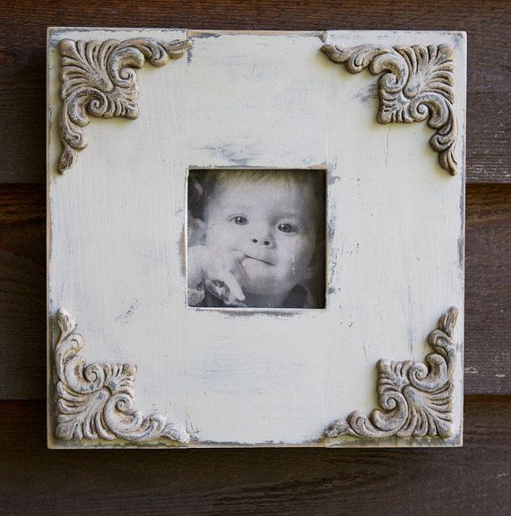 Shabby Chic Hand painted Frame // Rustic white by bonnielecat, $58.00
