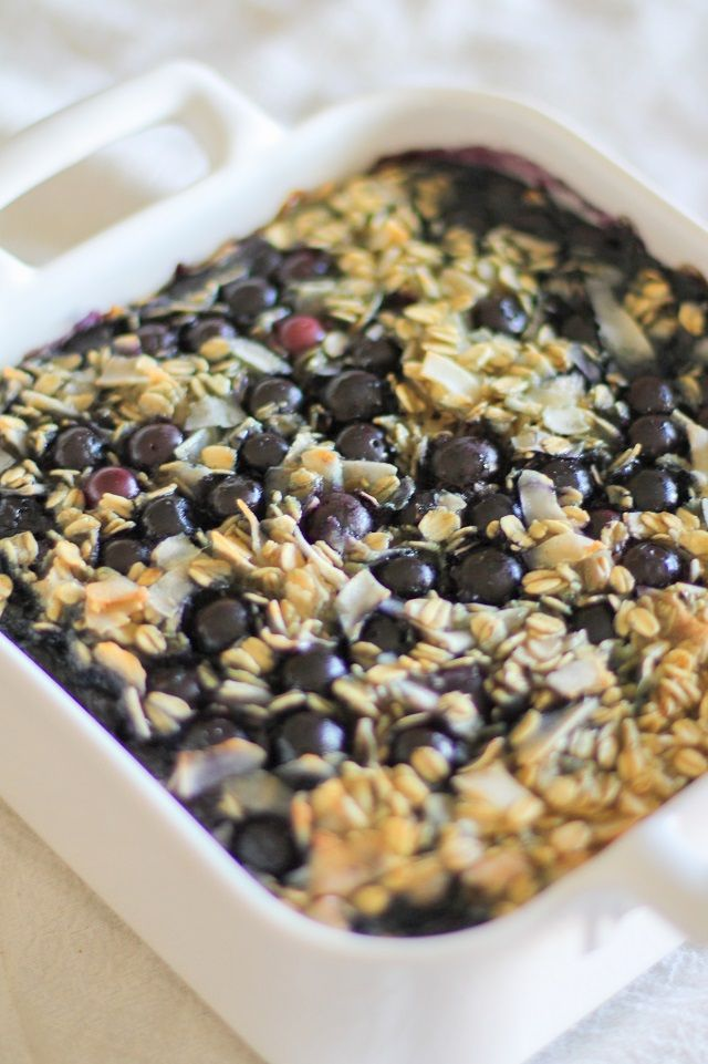 Blueberry Baked Oatmeal - Dairy-Free, Refined Sugar-Free, Gluten-Free, and healthy! Made with coconut milk and pure maple syrup| theroastedroot.net #brunch #breakfast #recipe @roastedroot