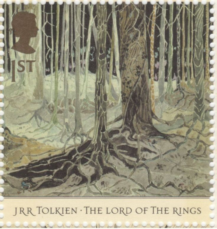 UK - 1st class - JRR Tolkien The Lord Of The Rings Stamp - 2004.  Taur-na-Fuin (Fangorn Forest).