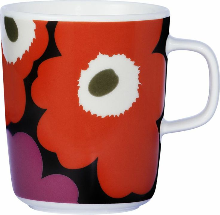 Marimekko Unikko Brown and Orange and Pink Mug | Crate and Barrel