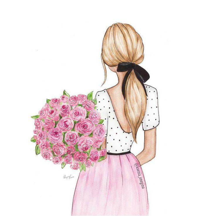 Девушка с цветами со спины вектор