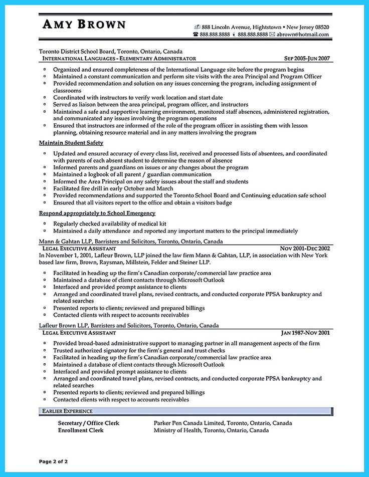 594 best Resume Samples images on Pinterest Resume templates - secretary skills resume