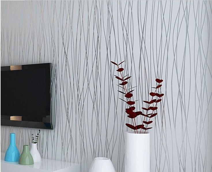 Wholesale Non Woven Fashion Thin Flocking Vertical Stripes Wallpaper For  Living Room Sofa Background Walls Home Wallpaper 3D Grey Silver