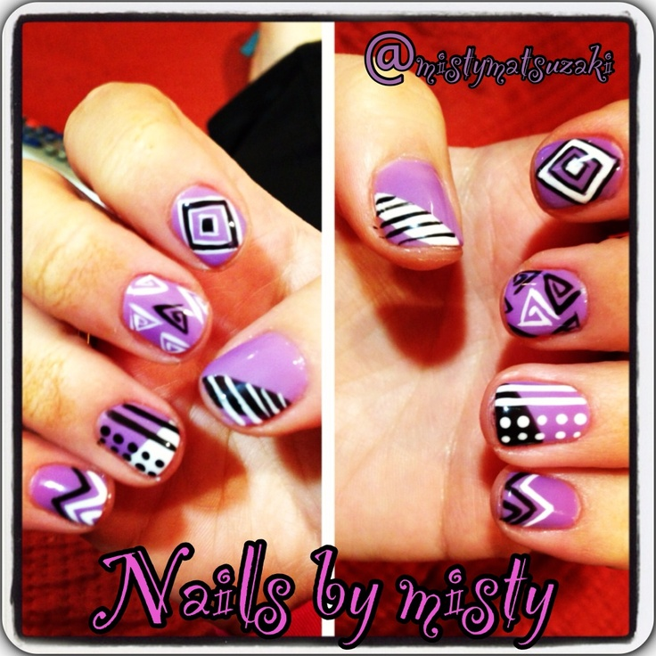 Purple with black and white  shellac nail art