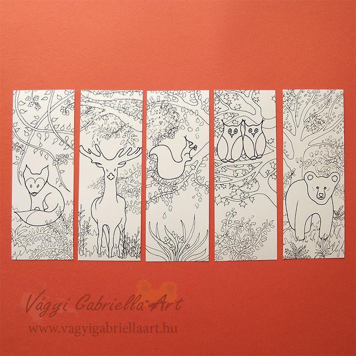 Erdő állatai színezős könyvjelző szett - Megvásárolható a linkre kattintva #színező #könyvjelző #coloring #bookmark #animal #forest #fox #owl #deer #bear #squirrel #artistic