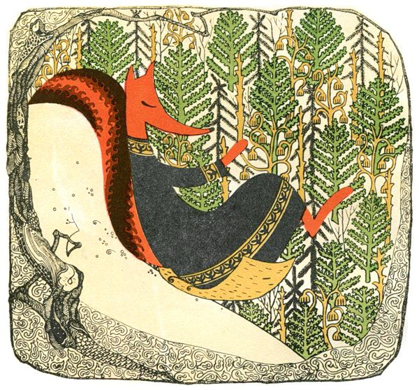 "This would be a badass embroidery project. ""The Raven, crucian carp and the Fox"": Illustrator G.Pavlishin, authors L.Sem, Yu.Sem."
