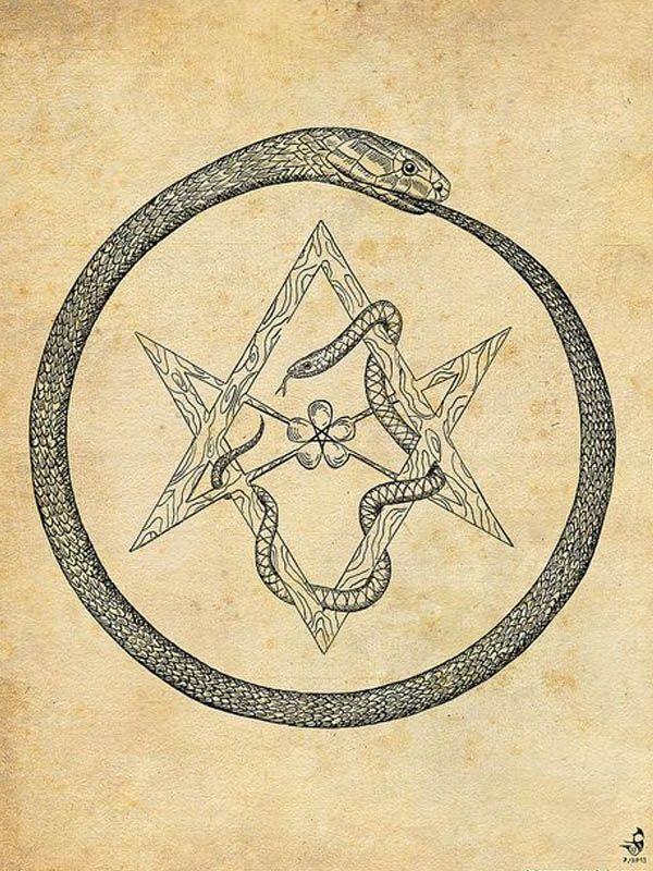 ouroboros hexagramme L'ouroboros est présent dans de nombreuses cultures, indiennes et saxonnes notamment, il symbolise le caractère cyclique du temps. Il représente une déesse chtonienne