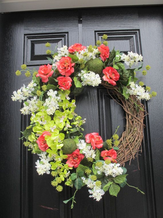 Spring Or Summer Door Wreath Orchids Roses Lilacs Bright Colors Fl