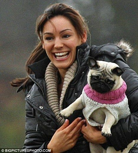Kelly Brook with her pug pup Rocky