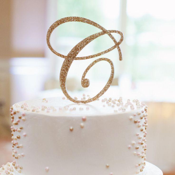 Monogram Glitter Cake Topper