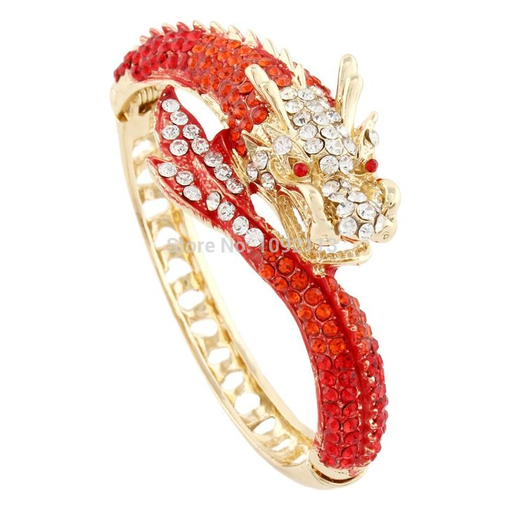 Bella Fashion 2015 New 6 Colors Fly Dragon Green Animal Gold Tone Rhinestone Bangles Cuff Austrian Crystal Bracelet for Women www.bernysjewels.com #bernysjewels #jewels #jewelry #nice #bags