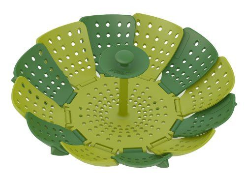Dishwasher Safe Lotus Steamer Basket Folding Non-Scratch for Steaming Vegetable Silicone Feet, Green
