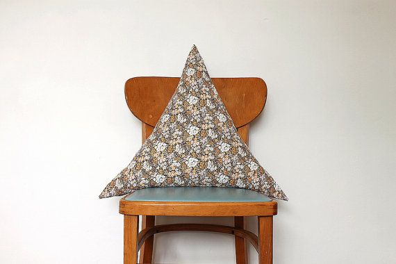 Triangle cushion cover in vintage fabric with by carolinesouth, £22.00