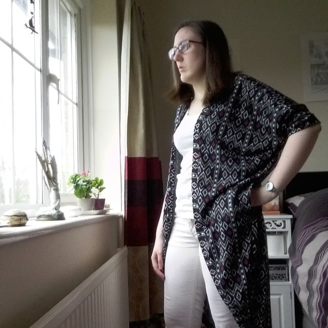 My pattern test of the Kommatia Patterns cocoon cardigan