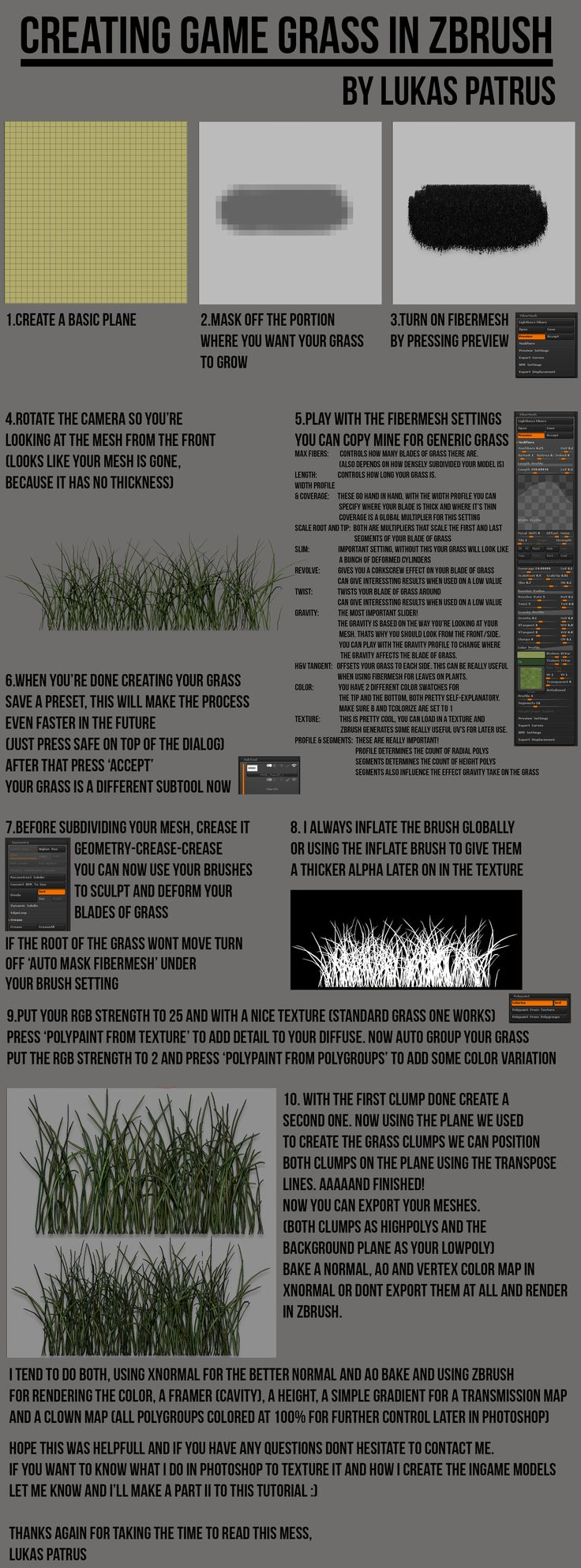 ArtStation - Creating Game Grass in Zbrush, Lukas Patrus
