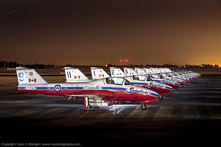Royal Canadian Air Force display team, the Snowbirds, Canadair CT-114 Tutor jet trainers at California Capital Airshow 2013.
