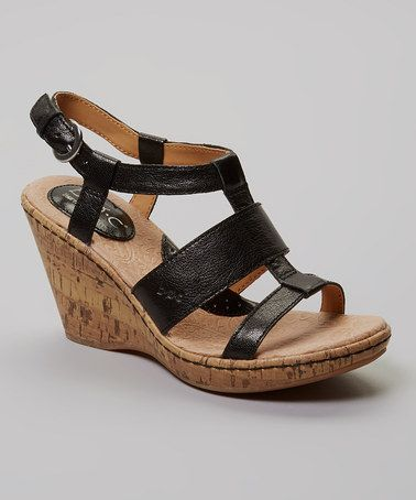 Take a look at this Black Farris Wedge Sandal by b.o.c on #zulily today!