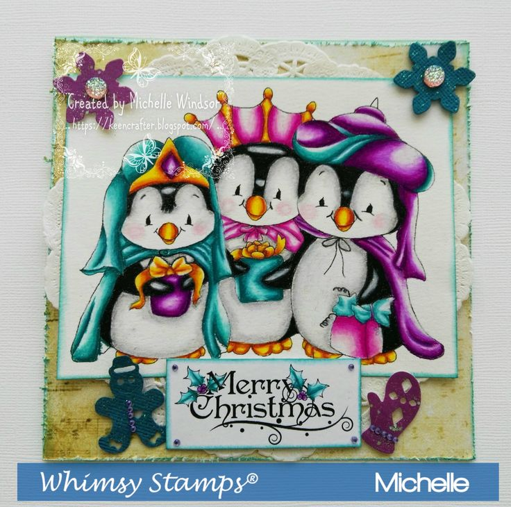 Whimsy Stamps Penguin Three Kings