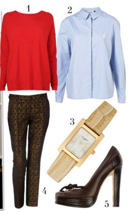 Красный пуловер, джинсовая рубашка, черные брюки, черные туфли