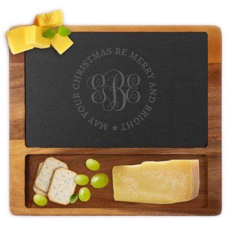 Custom Christmas Monogram Square Cheese Slate Board, Multicolor