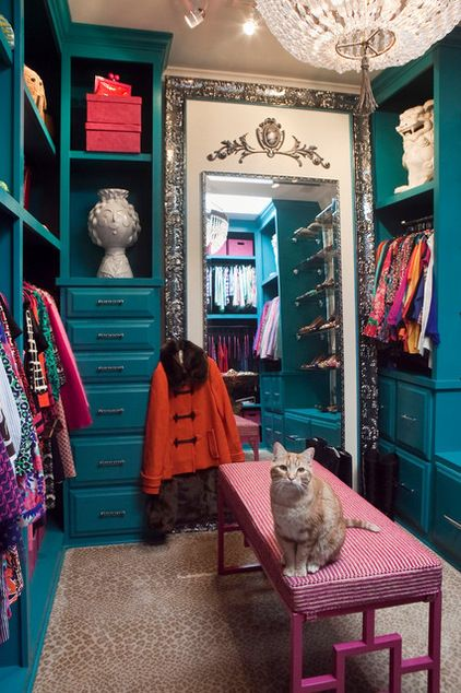 Paint the interior of your closet a rich jewel tone, and add a light and a mirror to make it glow.: